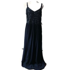 NWT Adrianna Papell navy sparkly beaded gown 16